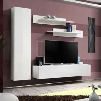 "Meuble TV Mural Design ""Fly I"" 210cm Blanc"