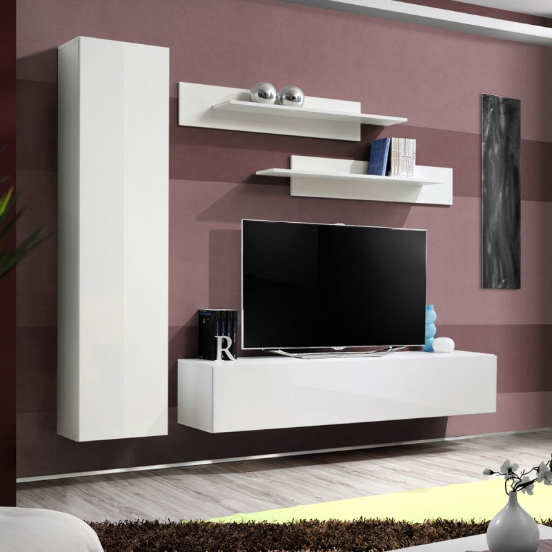 meuble tv mural design fly i 210cm blanc. Black Bedroom Furniture Sets. Home Design Ideas