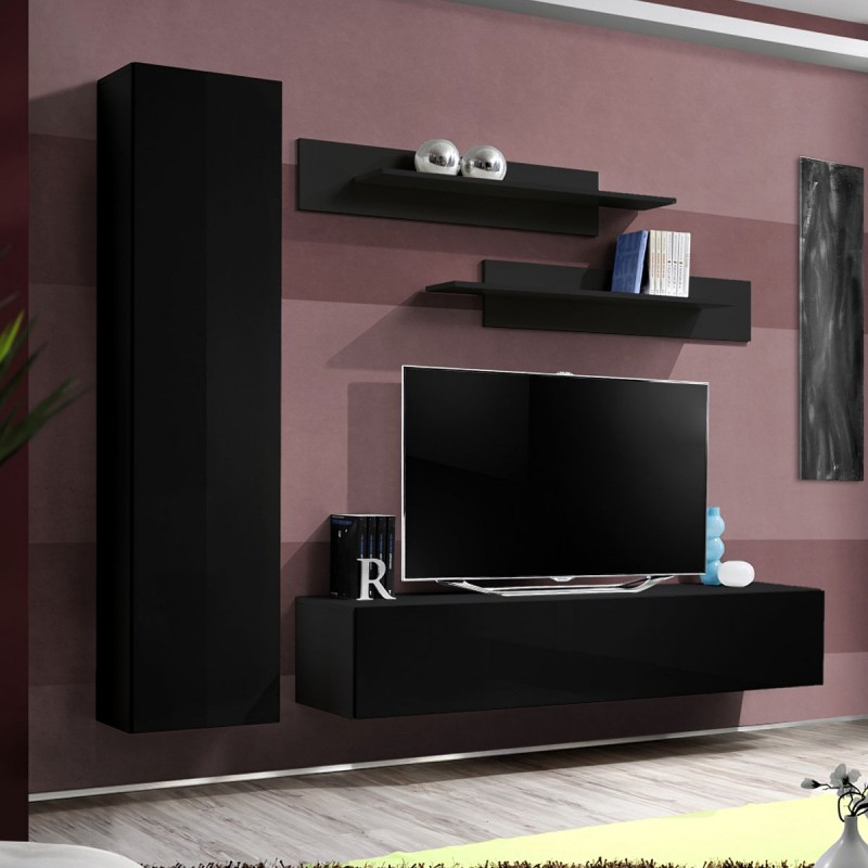Meuble tv mural design fly i 210cm noir for Meuble mural tv fly