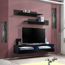 "Meuble TV Mural Design ""Fly IV"" 160cm Noir"