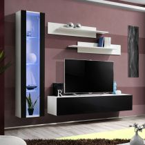 "Meuble TV Mural Design ""Fly II"" 210cm Noir & Blanc"