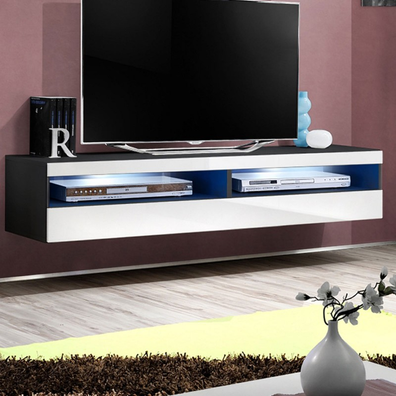 meuble tv mural design fly iv 160cm blanc noir. Black Bedroom Furniture Sets. Home Design Ideas