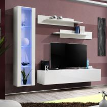 "Meuble TV Mural Design ""Fly II"" 210cm Blanc"