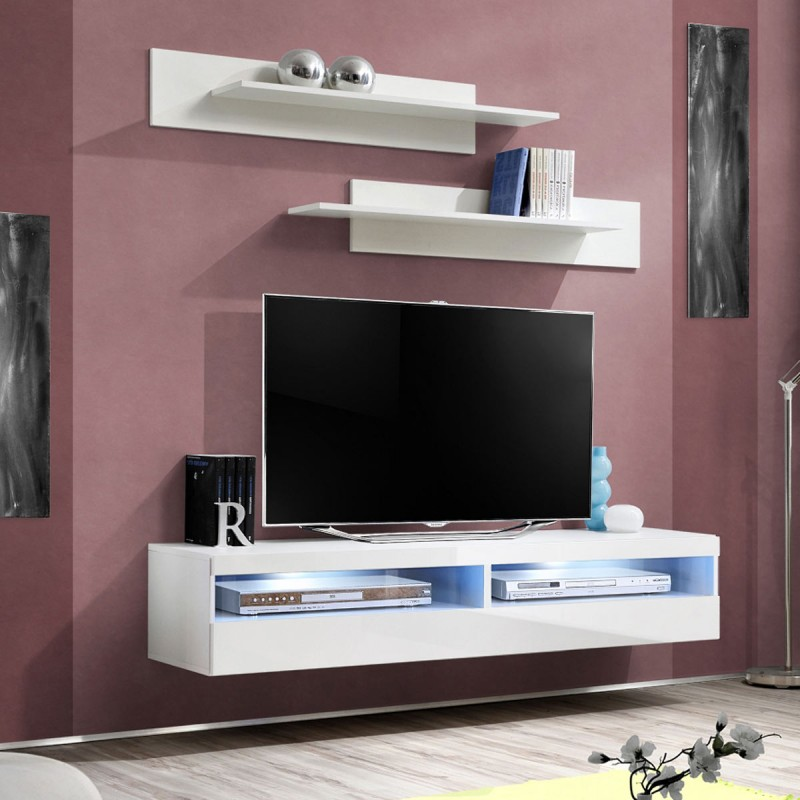 Meuble tv mural design fly iv 160cm blanc for Meuble tv suspendu fly