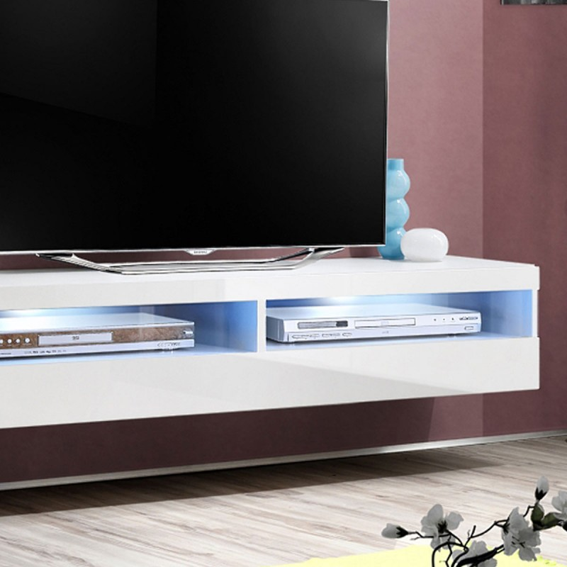 Meuble tv mural design fly iv 160cm blanc for Meuble tv 110 cm fly