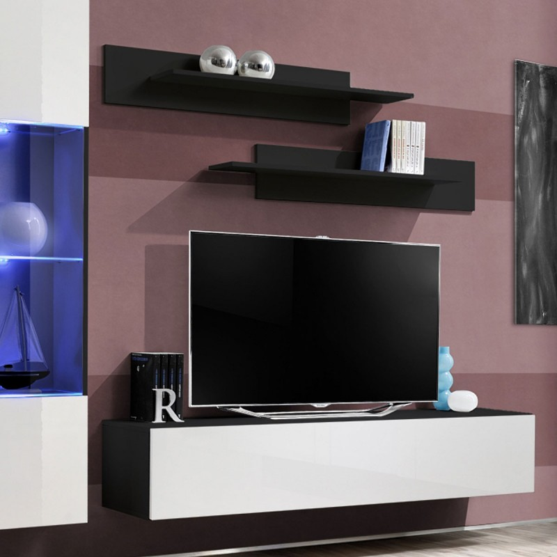 Meuble tv mural design fly iii 210cm blanc noir for Meuble mural tv fly