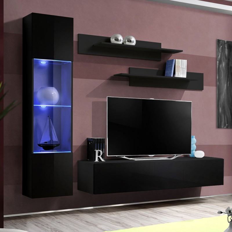 Meuble tv mural design fly iii 210cm noir for Meuble mural noir brillant
