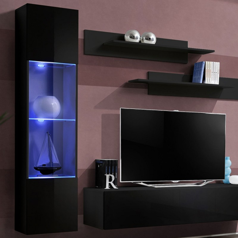 meuble tv mural design fly iii 210cm noir. Black Bedroom Furniture Sets. Home Design Ideas