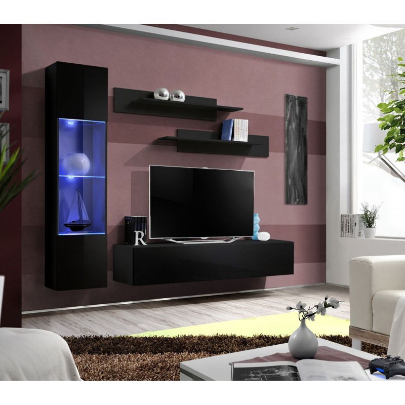 Meuble tv mural design fly iii 210cm noir for Meuble mural tv fly