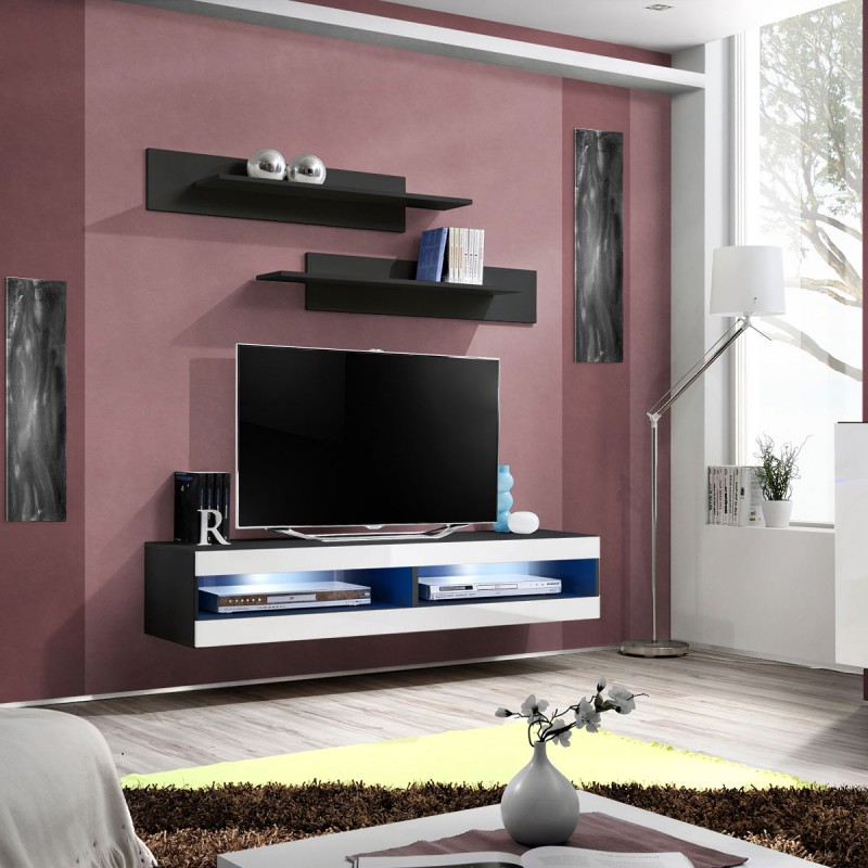 meuble tv mural design fly ii 160cm blanc noir. Black Bedroom Furniture Sets. Home Design Ideas