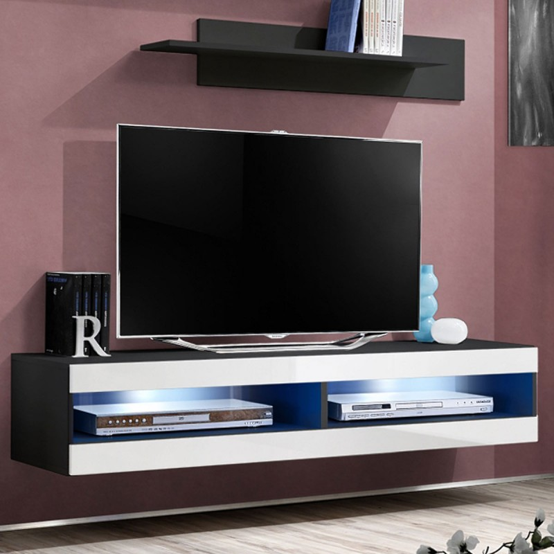 Meuble tv mural design fly ii 160cm blanc noir for Meuble tv mural design