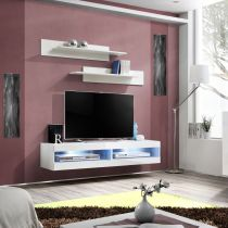 "Meuble TV Mural Design ""Fly II"" 160cm Blanc"