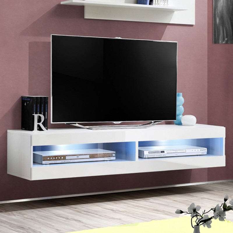 meuble tv mural design fly ii 160cm blanc. Black Bedroom Furniture Sets. Home Design Ideas