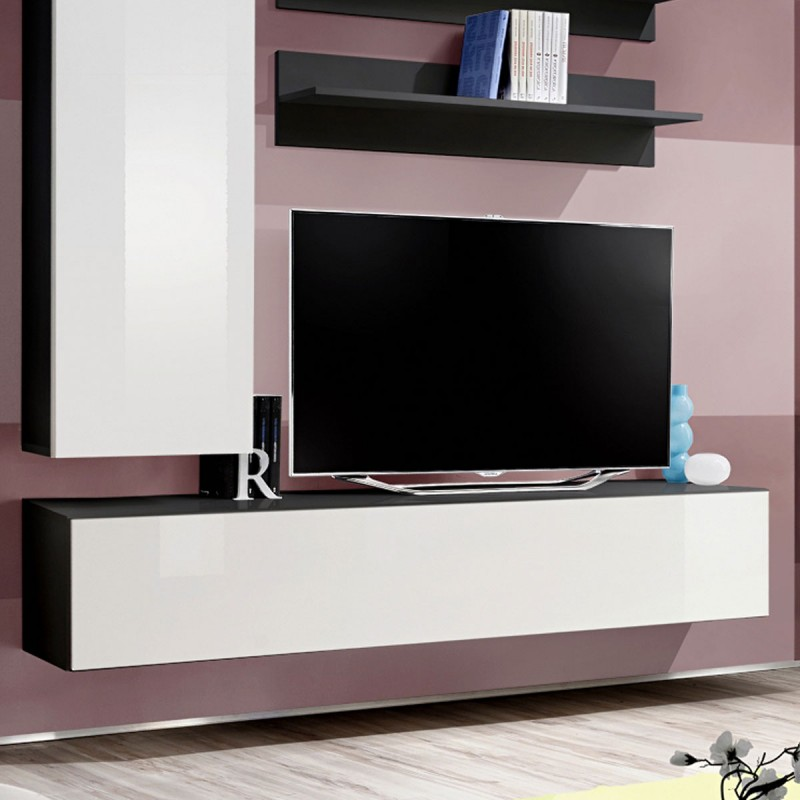 meuble tv mural design fly i 170cm blanc noir. Black Bedroom Furniture Sets. Home Design Ideas