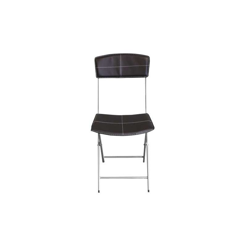 Lot de 4 chaises pliables en simili cuir marron for Chaise en simili cuir