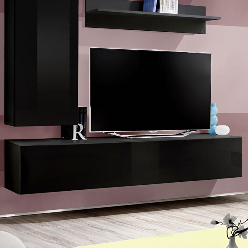 meuble tv mural design fly i 170cm noir. Black Bedroom Furniture Sets. Home Design Ideas