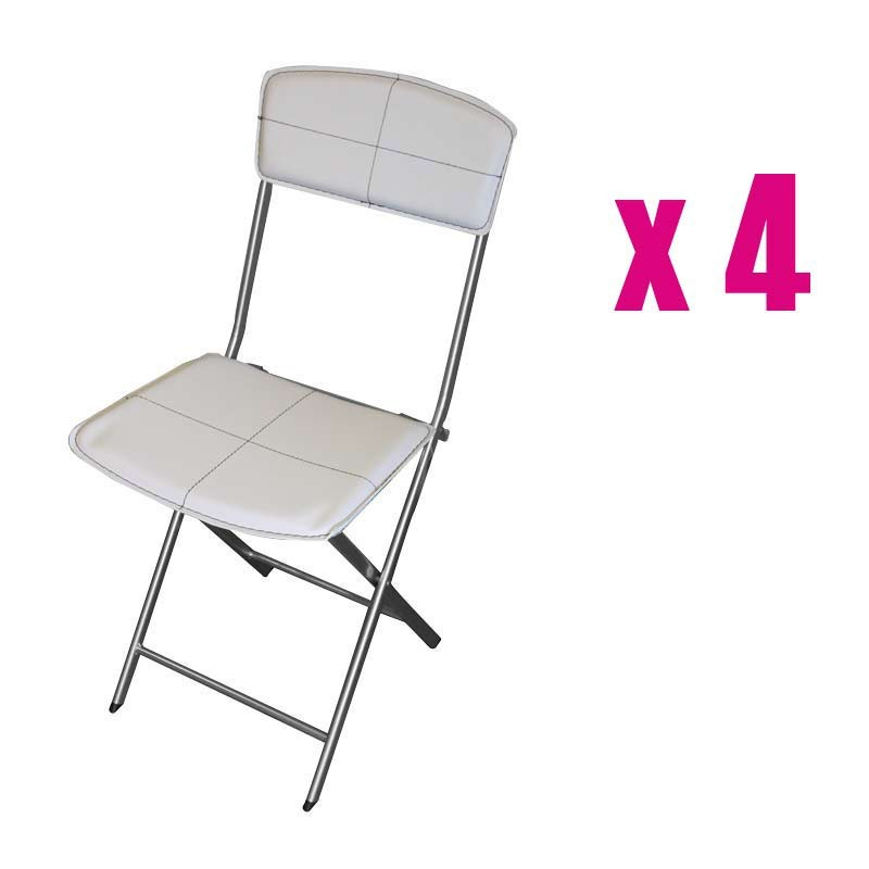 Lot de 4 chaises pliables en simili cuir blanc for Chaise en simili cuir