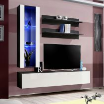 "Meuble TV Mural Design ""Fly II"" 170cm Blanc & Noir"