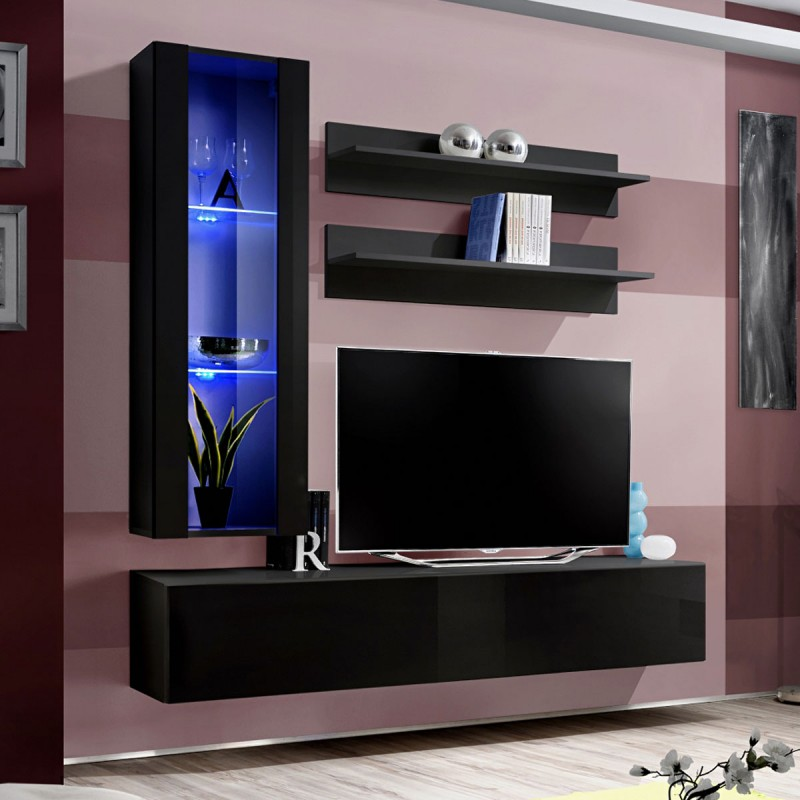 meuble tv mural design fly ii 170cm noir. Black Bedroom Furniture Sets. Home Design Ideas