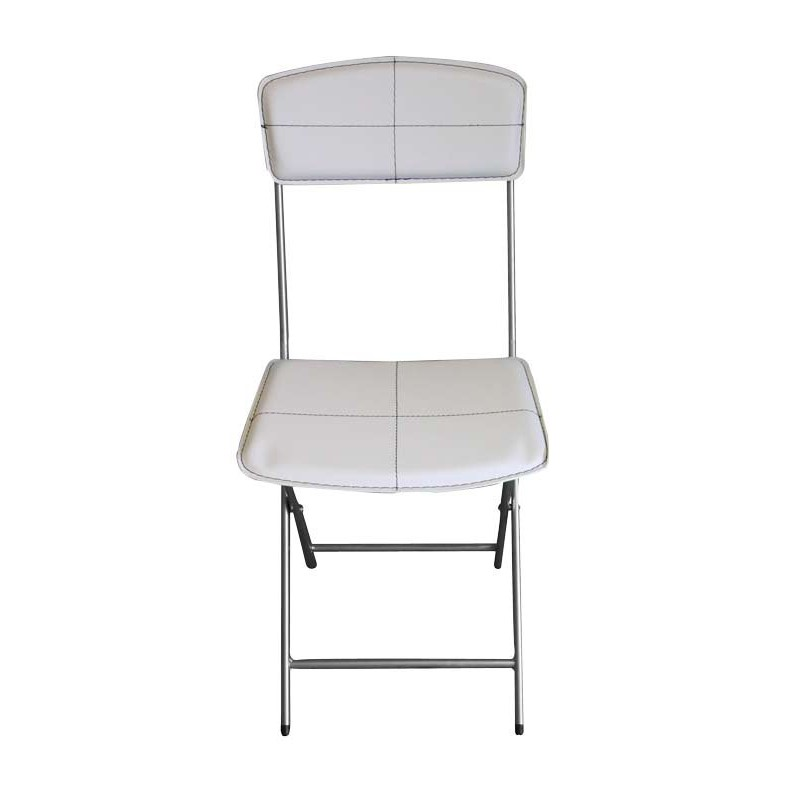 Lot de 4 chaises pliables en simili cuir blanc for Chaise cuir blanc