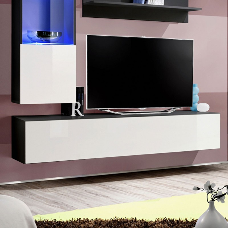 meuble tv mural design fly iii 170cm blanc noir. Black Bedroom Furniture Sets. Home Design Ideas