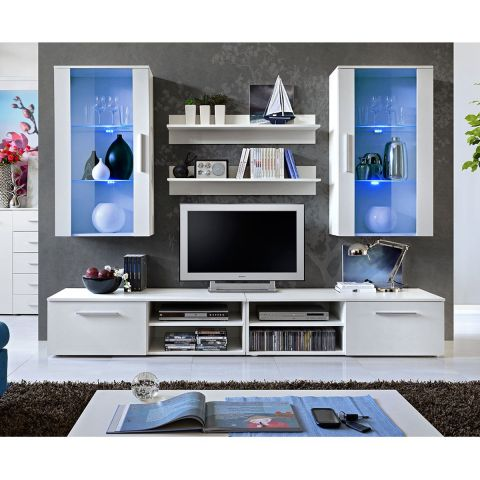 "Ensemble Meuble TV Mural Design ""Galino VII White"" Blanc"