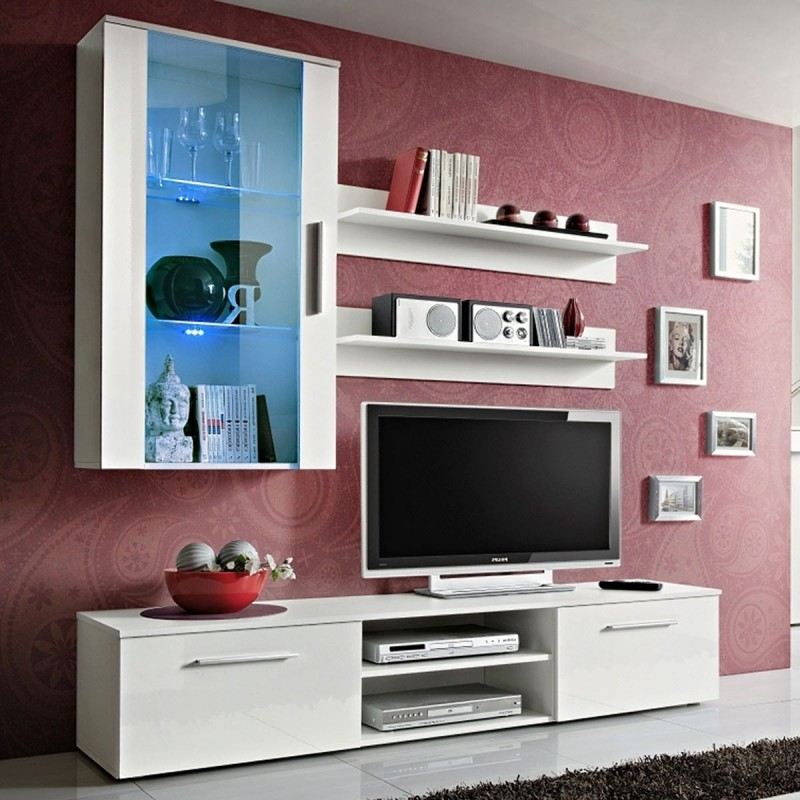 meuble tv mural design galino v white blanc. Black Bedroom Furniture Sets. Home Design Ideas