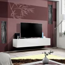 "Meuble TV Mural Design ""Fly I"" 160cm Blanc"