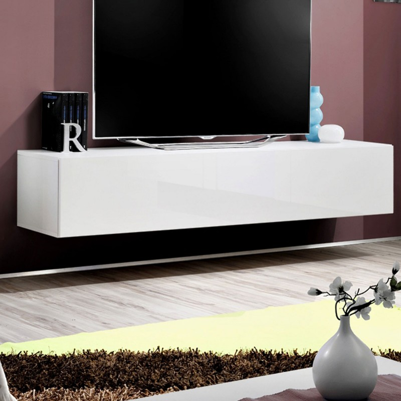 meuble tv mural design fly i 160cm blanc. Black Bedroom Furniture Sets. Home Design Ideas