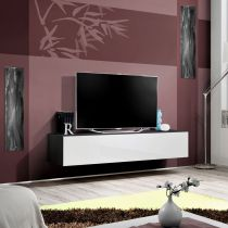 "Meuble TV Mural Design ""Fly I"" 160cm Blanc & Noir"