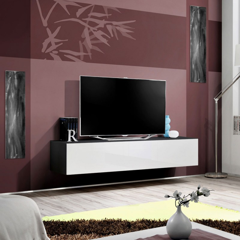 Meuble tv mural design fly i 160cm blanc noir for Meuble mural tv fly