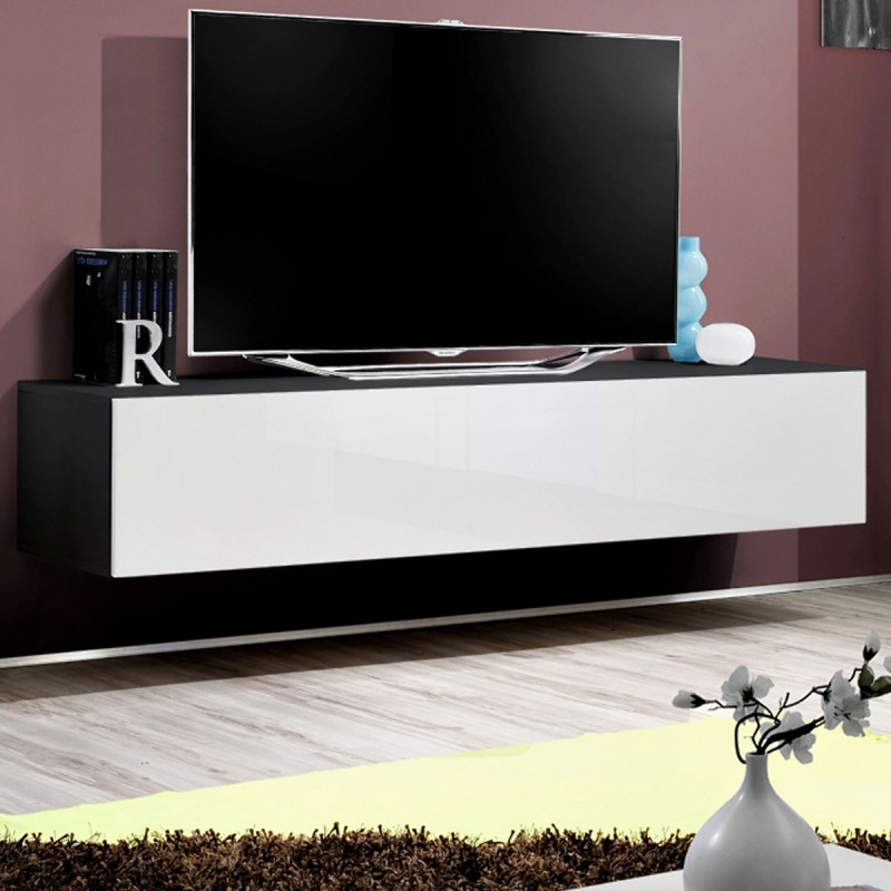 Meuble tv mural design fly i 160cm blanc noir for Meuble mural 160 cm