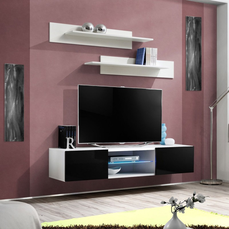 Meuble tv mural design fly iii 160cm noir blanc for Meuble mural 160 cm