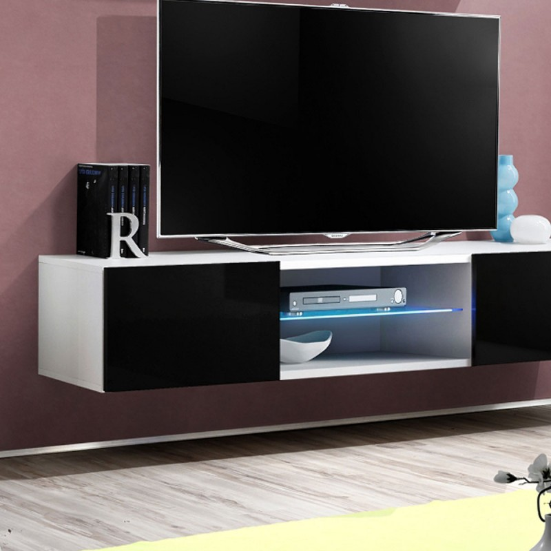 Meuble tv mural design fly iii 160cm noir blanc for Meuble tv mural design