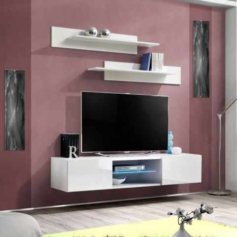meuble tv mural design fly iii 160cm blanc. Black Bedroom Furniture Sets. Home Design Ideas