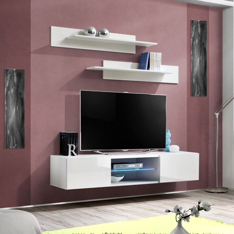 Meuble tv mural design fly iii 160cm blanc for Meuble mural tv fly
