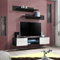 "Meuble TV Mural Design ""Fly III"" 160cm Blanc & Noir"