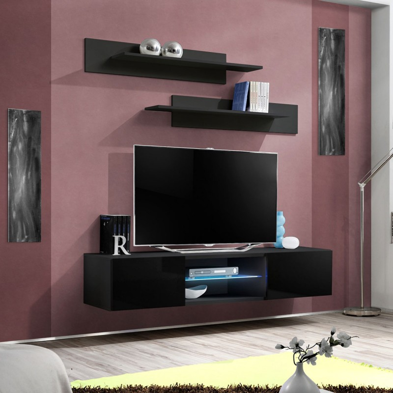 Meuble tv mural design fly iii 160cm noir for Meuble mural original