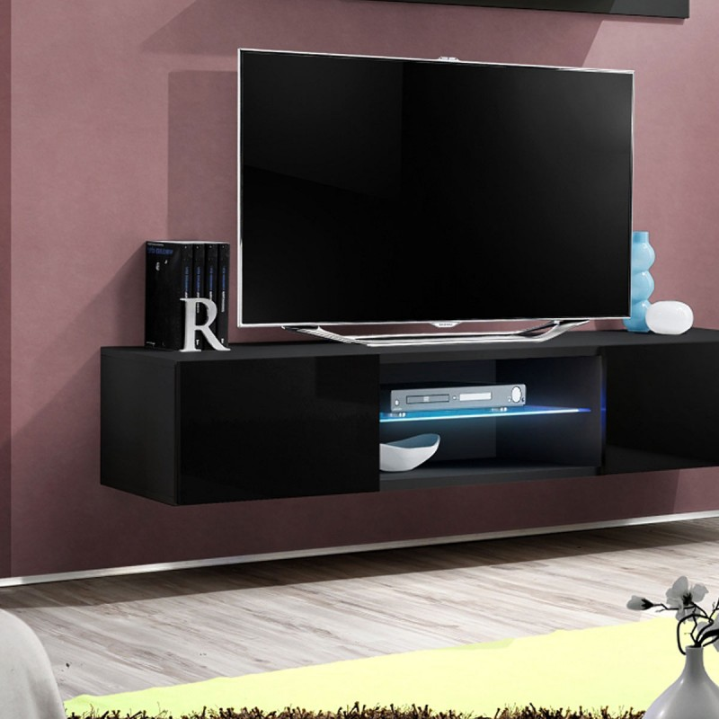 Meuble tv mural design fly iii 160cm noir for Meuble mural noir brillant