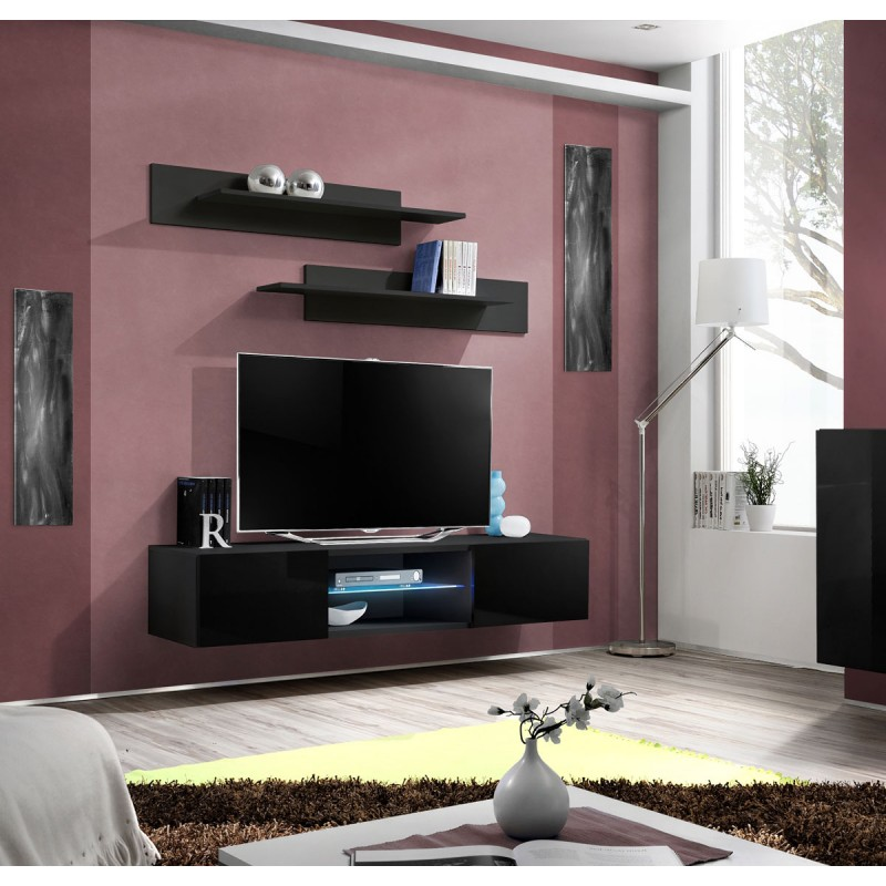 Meuble tv mural design fly iii 160cm noir for Meuble tv mural design