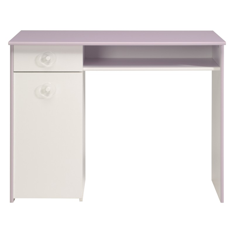 bureau enfant mila 100cm blanc lilas. Black Bedroom Furniture Sets. Home Design Ideas