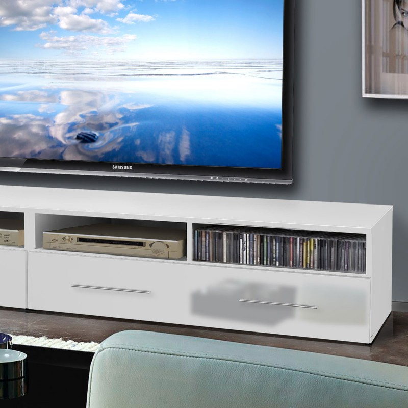 meuble tv mural clevo i 240cm blanc. Black Bedroom Furniture Sets. Home Design Ideas