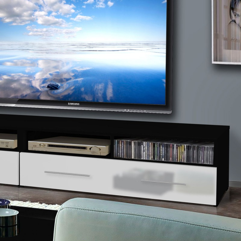 meuble tv mural clevo i 240cm blanc noir. Black Bedroom Furniture Sets. Home Design Ideas