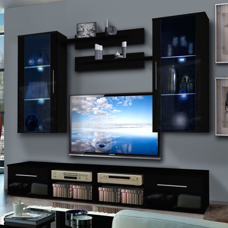 meuble tv mural invento vii twin 240cm noir. Black Bedroom Furniture Sets. Home Design Ideas