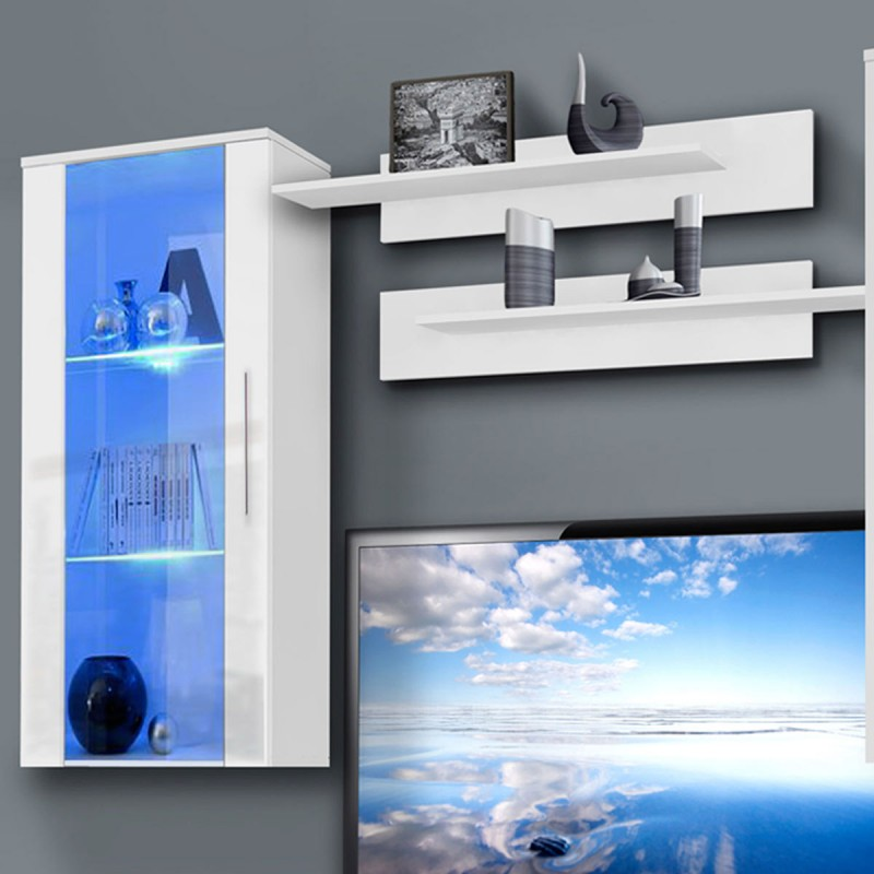 meuble tv mural invento vii twin 240cm blanc. Black Bedroom Furniture Sets. Home Design Ideas