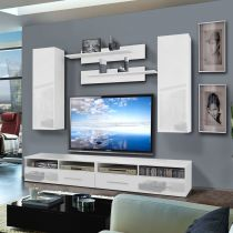 "Meuble TV Mural ""Clevo I Twin"" 240cm Blanc"
