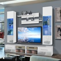 "Meuble TV Mural ""Invento VI Twin"" 240cm Blanc"