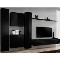 "Meuble TV Mural Design ""Switch VI"" 330cm Noir"