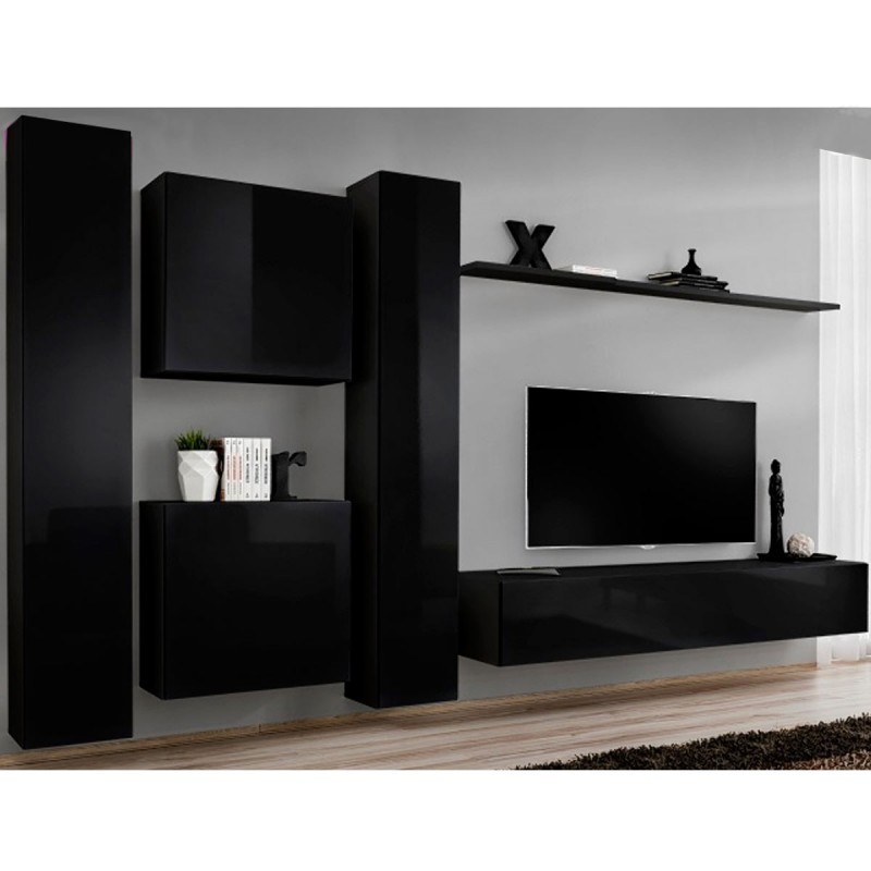 Meuble tv mural design switch vi 330cm noir for Meuble mural 160 cm