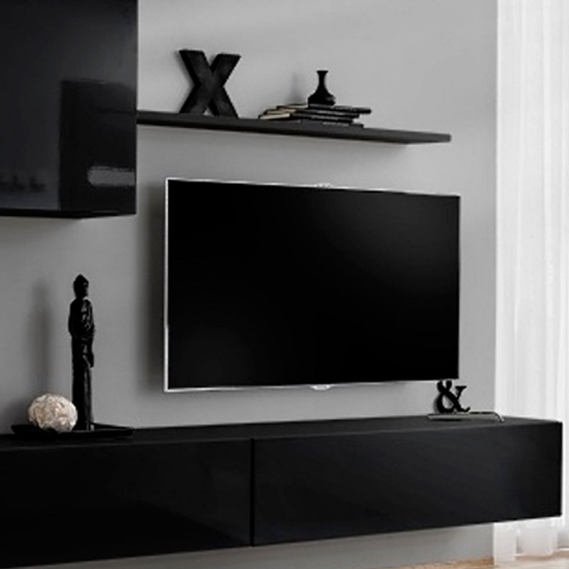 Meuble tv mural design switch x 330cm noir for Meuble tv mural design